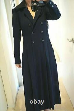 100% Auth. CHANEL 93A Vintage Navy Dress Trench Light Coat FR 38 40 NEW & RARE