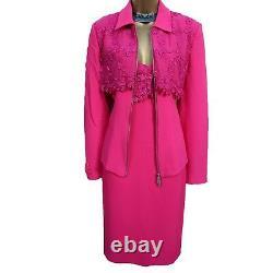 14 UK KAREN MILLEN Pink Vintage Lace Jacket & Dress Suit Races Mother of Bride