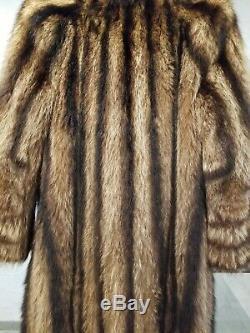 1920 1930 Real Raccoon Pelt Fur Coat. Men's Small Flannel Lined