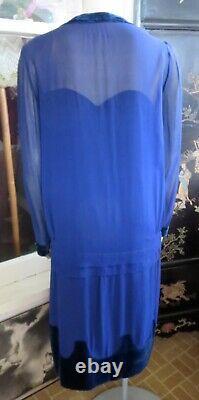 1920s Midnight Blue Silk & Velvet Flapper Day Dress Fully Lined 36 Bust