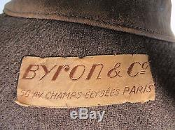 1930s Parisian French Tweed-Lined Brown Leather Jacket M/L 40/42- Prewar Patina