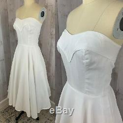 1940s DRESS White Pique Cotton Frock A-Line Fit & Flare Pinup Corset Lace up S