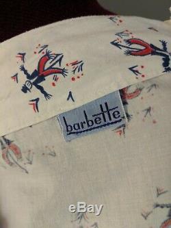 1940s PINUP Novelty Print Halter top dress Cotton A-line Scarecrow Vintage RARE