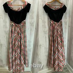 1940s Vintage DRESS/GOWNBlack Velvet Tartan PARTY LINEEMMA DOMB Taffeta S/XS