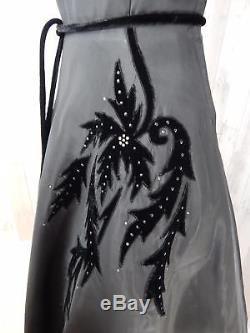 1950 Vintage DRESSBlack A-line Velvet Applique/Rhinestones Pinup Rockabilly S/M