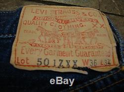 1950s LEVIS 501 ZXX HIDDEN RIVETS ZIP BIG E NOT BUTTONFLY RED LINE INDIGO DENIM
