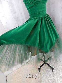 1950s Vintage Prom DRESSEmerald Green Velvet A-line Strapless Sweetheart Small