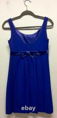 1960s Blanes Royal Blue Empire Line Babydoll Dress With Diamanté Buckle UK 8