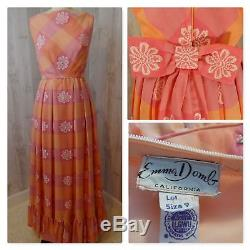 1960s Vintage DRESSEMMA DOMB MAXI A-LINE PINK/SHERBET ORG BOW Vtg SML Ex Cond