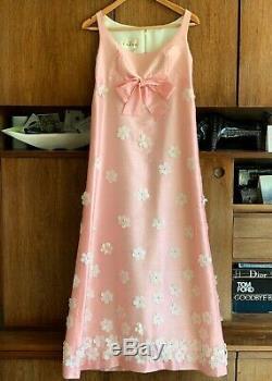 1960s vintage JOHN BATES Jean Varon FLOWER DRESS empire line evening gown