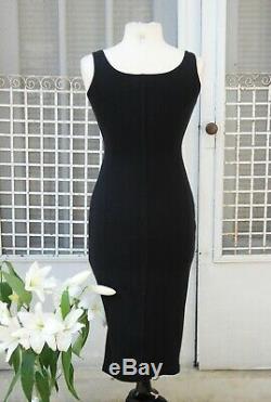 1990s Karen Alexander Knit Dress Button Up Low Scoop Neck Line Body Con Dress S