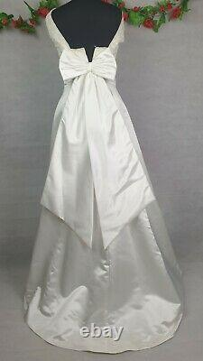 1990s Vintage Mori Lee Beaded A Line Wedding Dress With Train Size 8 34inches