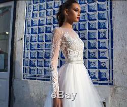 2019 Lace Wedding Dresses Long Sleeves Vintage Neck A- Line Milla Nova Dress