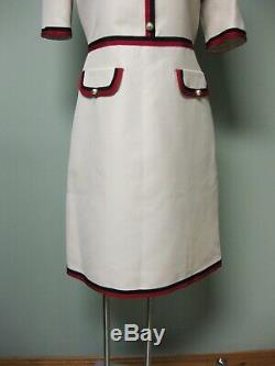 $2700 Gucci AUTH NEW Grosgrain Web Wool Silk Gardenia Crepe Dress 44 475850ZHM88