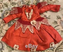 #285 Antique Lined Red Silk Dress For Antique French or German Bisque Doll