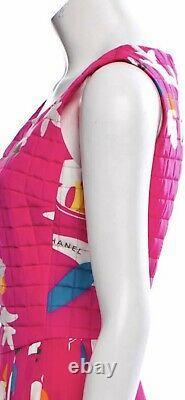 $3k CHANEL 2000 Vintage AIRPLANE Pink Logo Print Midi DRESS 36 38 40 2 4 6 S Top