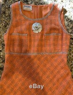 $3k CHANEL Vintage 97p Tweed Dress Pink 38 40 42 6 8 10 90s Metallic Boucle M