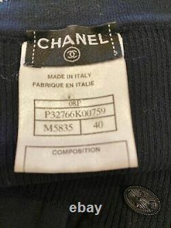 $4100 CHANEL Vintage 2008 Blue Knit Bow 08 Dress 36 38 40 4 6 8 Top S M GIFT BAG