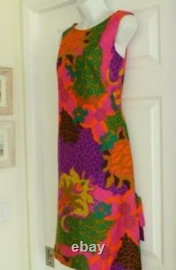 60s 70s Waltah Clarke Hawaii Mod Psychedelic Luau Hostess Dress Vtg 10=XS/S EUC