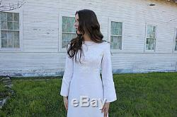 60s EMBROIDERED WEDDING Dress Bell Sleeve A Line Bohemian Bride Modest small