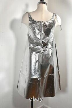 60s VTG Silver Space Age Paper Dress MOD GoGo Mini Unworn withFold Lines S