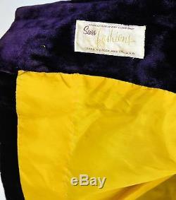 60s Vintage Crushed Velvet Long Coat L/XL 14 Purple Princess Seam Steampunk Goth