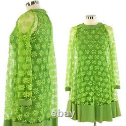 60s Vintage Olive Green Sheath Dress w. A Line Floral Lace Overlay Womens XS