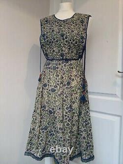 70s Phool Vintage Block Hand Painted Dress Quilted Floral Small Sleeveless India