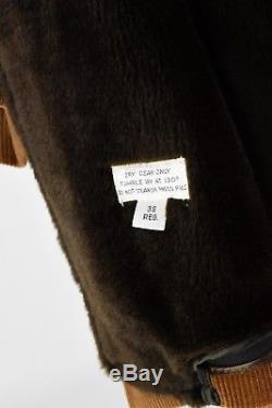 70s Vintage Men's 38R Brown Corduroy Overcoat London Fog Faux Fur Lined