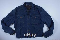 70s Vintage Wrangler Selvedge Denim Jean Blanket Lined Work Jacket Size 42 L