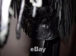 80s Vtg S Black Leather Fringe Chia Jacket Conchos Rocker Biker Thinsulate Lined