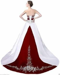 A Line Strapless Bead Embroidery Satin Vintage Bridal Gown Wedding Dress Custom