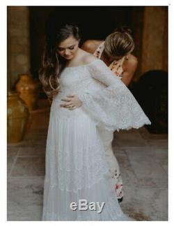 A Line Vintage Princess Wedding Gown White Ivory Flare Sleeves Beach Bride Dress