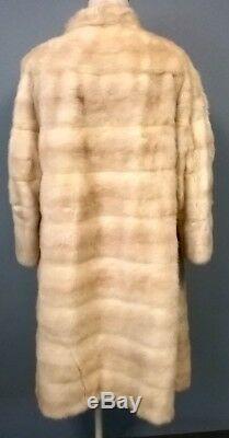 ANAMORENA CREATIONS Vintage Ivory Beige Mink Fur Calf Length Lined Coat Sz M