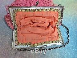 ANTIQUE Pink glass hand BEADED Fringe PURSE Handbag METAL frame FRANCE lined