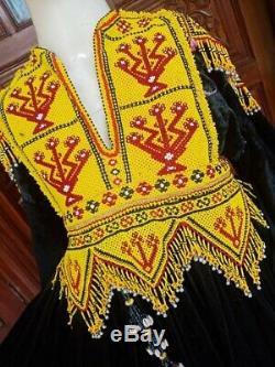 Afghan Kuchi Dress with beaded neck line/ Vintage Black Velvet
