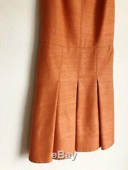 Akris Punto Womens Silk Dress Sleeveless Sz 8 Orange Pleated Textured Vintage