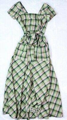 Albert Nipon Vintage Plaid A-line Maxi Wrap Dress Size 8