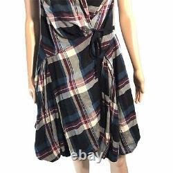 All Saints Vintage Anchorage Wrap Plaid Dress 14 UK/US 10 Tie Hitch Bustle Rare