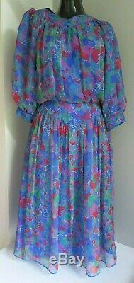 Anna Belinda Oxford Designer True Vintage Blue Floral Silk Lined Dress S/m Uk 10