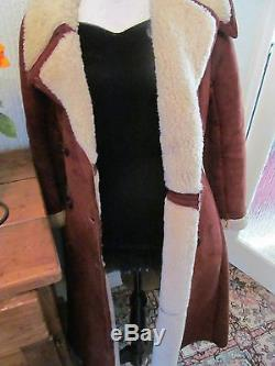 Antartex rust brown lambskin fitted retro 60s /70s heavy wool lined coat size 12