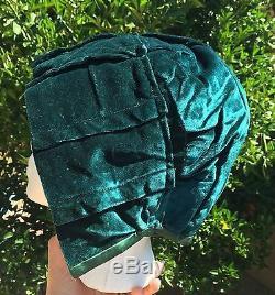 Antique 1910s Womens Winter Bonnet Hat Green Velvet Cap Satin Trim Lined Hood