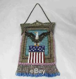 Antique Beaded Bag Purse American Eagle & Flag Lined in Leather 19th C