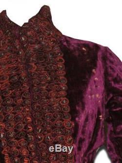 Antique Reception Dress Velvet Cherry Beaded Embroidery Glass Princess Line 1870