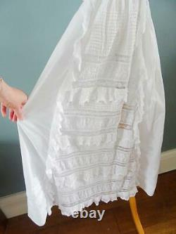 Antique Victorian Christening Gown Dress Princess Line Embroidered Whitework