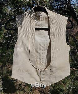 Antique Victorian Mens Waffled Silk Vest Waistcoat MOP Buttons Lined As Is