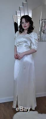 Antique ivory satin wedding dress empire line scooped back embroidery bias cut