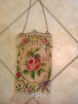 Antique large fine glass beaded purse. Rose /Floral Medallion. Lined. 7 x 14