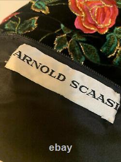 Arnold Scaasi Vintage Couture Black Velvet Embroidered Roses Cocktail Dress L