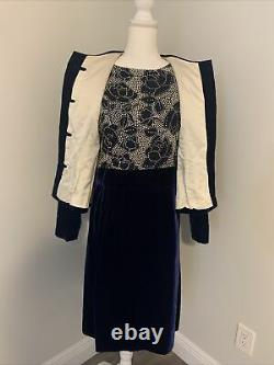 Arnold Scaasi Vintage Couture Blue Velvet Dress with Matching Jacket Medium